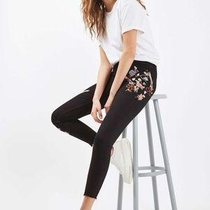 TOPSHOP MOTO FLORAL JAMIE JEANS  28 EMBROIDERED